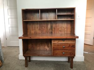 Wood Desk with storage and display shelves for Sale in Roswell, GA