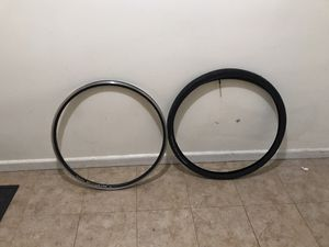 Aluminum 700c doble wall rim,tire and tube for Sale in Queens, NY