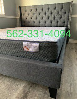 👉 New Full Gray Tufted Bed With Mattress Included 👈 for Sale in Fresno, CA