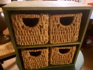 Wooden Shelf W/ baskets. for Sale in Virginia Beach, VA