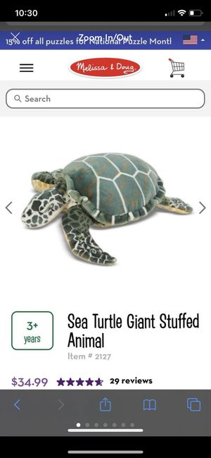 Seat turtle giant stuffed animal for Sale in Chicago, IL