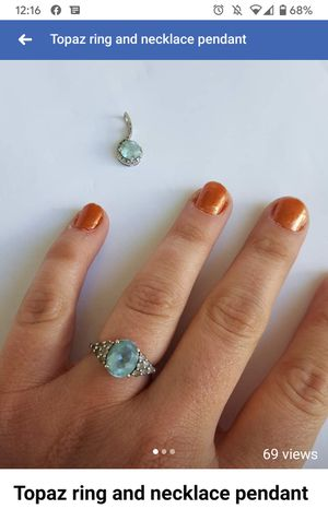 Topaz ring and necklace pendant for Sale in Tooele, UT