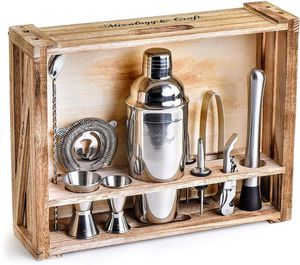 Silver Mixology Bartender Kit: 11-Piece Ba1r Tool Set with Rustic Wood Stand - Perfect Home Bartending Kit and Cocktail Shaker Set for Sale in Hacienda Heights, CA