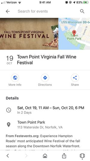 Wine fest tickets for Sale in Norfolk, VA