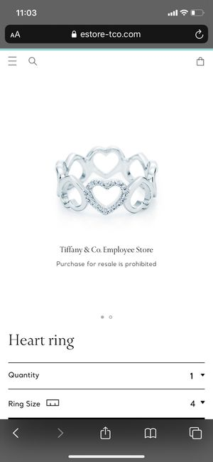 Exclusive Tiffany & Co. Heart Ring in White Gold for Sale in Staten Island, NY