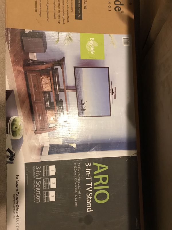 Bayside Furnishings Ario 3-in-1 TV stand, still in box.