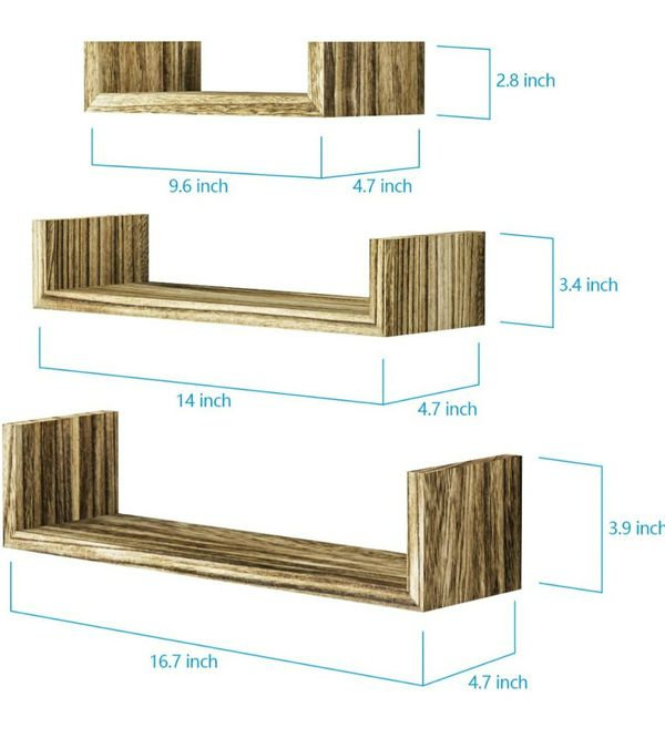 3 Tier Hanging Wall Mounted, Solid Wood Wall Shelves