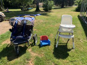 Double Jogging Stroller, High Chair, Booster Seat- PENDING for Sale in Issaquah, WA