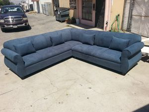 NEW 9X9FT ANNAPOLIS STEEL BLUE FABRIC SECTIONAL COUCHES for Sale in Ontario, CA