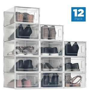 12 Pack Shoe Storage Boxes, Clear Plastic Stackable Shoe Organizer Bins for Sale in North Las Vegas, NV