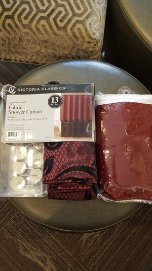 Fabric Shower Curtain, liner and hooks for Sale in Frederick, MD