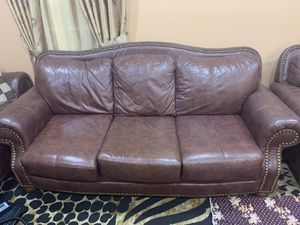 Brown leather couch sofa and chair with ottoman for Sale in Herndon, VA