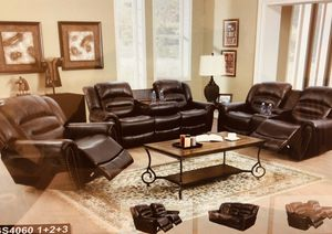 New baseball stitch brown bonded leather reclining fully loaded three piece sofa set for Sale in Kent, WA