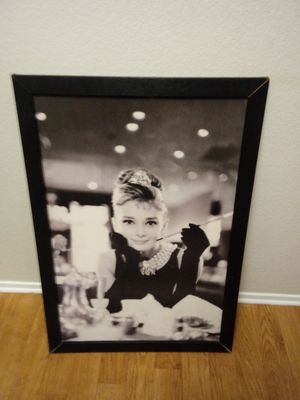 Audrey Hepburn. Picture with frame for Sale in Modesto, CA