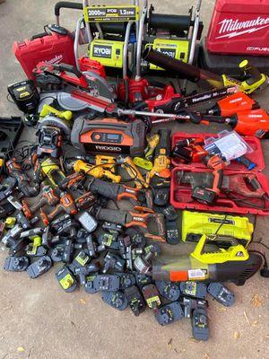 Milwaukee, DeWalt, Echo, Flexvolt, Fuel, Ryobi, Rigid Wrench Drills, Power wash, Kobalt, Grinder, Sawzall, Saw, All for parts or repair. As-is for Sale in Dallas, TX