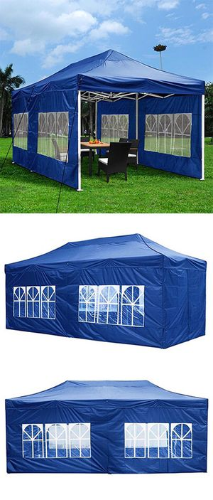 Brand New $210 Heavy-Duty 10x20 Ft Outdoor Ez Pop Up Party Tent Patio Canopy w/Bag & 6 Sidewalls, Blue for Sale in Pico Rivera, CA