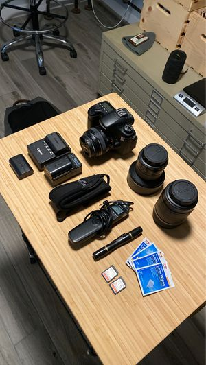 Canon 60D + 3 lenses, accessories, bag for Sale in San Diego, CA