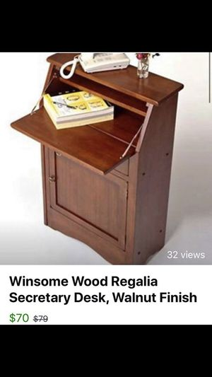 Winsome Wood Regalia Secretary Desk, Walnut Finish for Sale in Detroit, MI