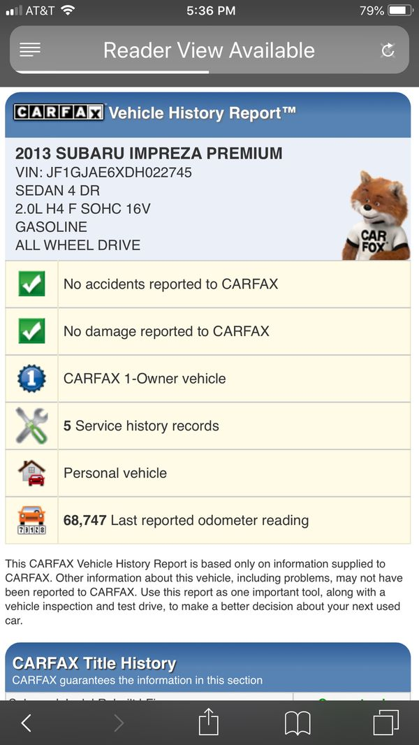 2013 Subaru Impreza 2.01 Prem AWD