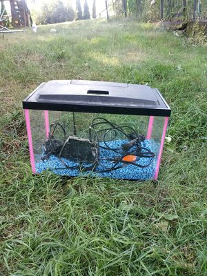 Fish tank with rocks heater and filter pump and lite hood for Sale in Norton, OH