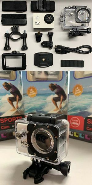 New in box Cobra Adventure HD sports generic gopro style camera cam 1080p water proof with lcd screen includes accessories for Sale in Whittier, CA