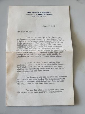 Eleanor Roosevelt Letter Autograph for Sale in Silver Spring, MD