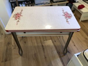 Kitchen Table or desk. Antique 1930's to 1950's Enamel Table. 40 inches by 25 inches. Each extender is 10 inches for Sale in Santa Monica, CA