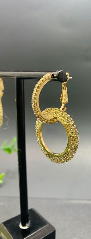 Full Crystal Circle Earrings for Women Luxury Round Shiny, Gold Color for Sale in Tustin, CA