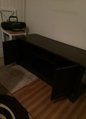 Large dark brown tv stand for Sale in Houston, TX