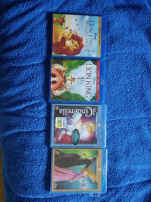 The lion king Sleeping Beauty Cinderella Blu rays for Sale in Atlanta, GA