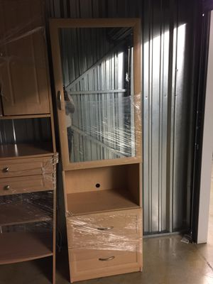 Slightly used two drawer cupboard with mirror for Sale in Columbus, OH