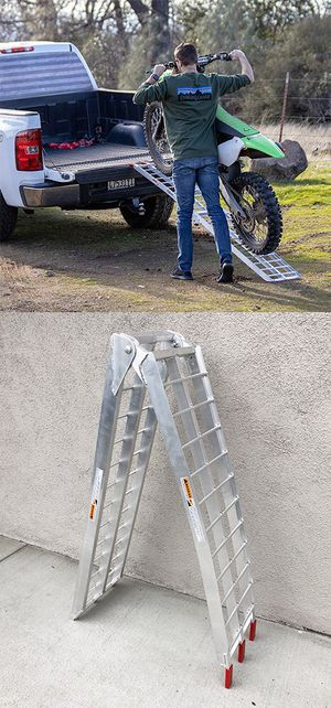 New $60 Single 7.5ft Aluminum Motorcycle Folding Loading Ramp Street Dirt Bike 750Lbs Rated for Sale in South El Monte, CA