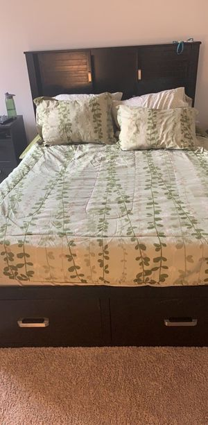 Queen size bedframe & headboard with storage for Sale in Silver Spring, MD