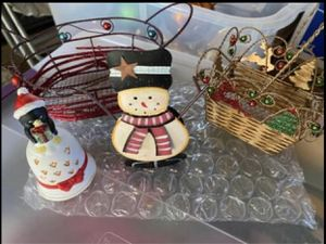 Christmas decoration 2 small metal baskets, porcelain bell, metal candle holder all $3 for Sale in San Diego, CA