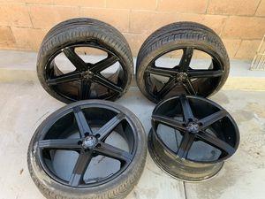 Black 20inch versante rims with tires for Sale in Pomona, CA