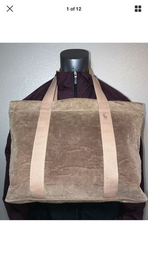 Polo Ralph Lauren Brown Corduroy Tote Bag Handles Caramel Beach Tote for Sale in Chandler, AZ