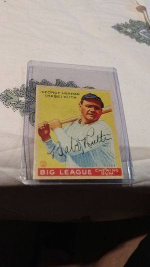 Bade Ruth signed big league chewing gum baseball card for Sale in Roseville, MI