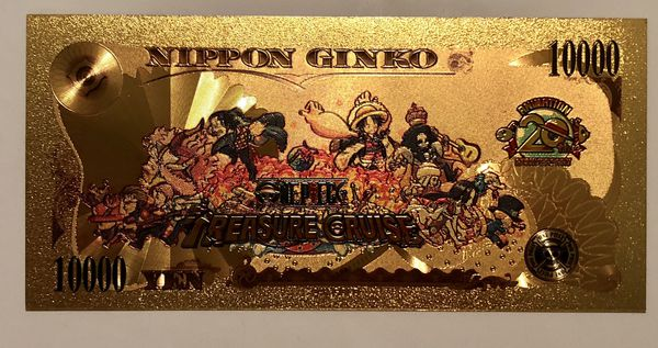 5x One Piece anime Gold cards