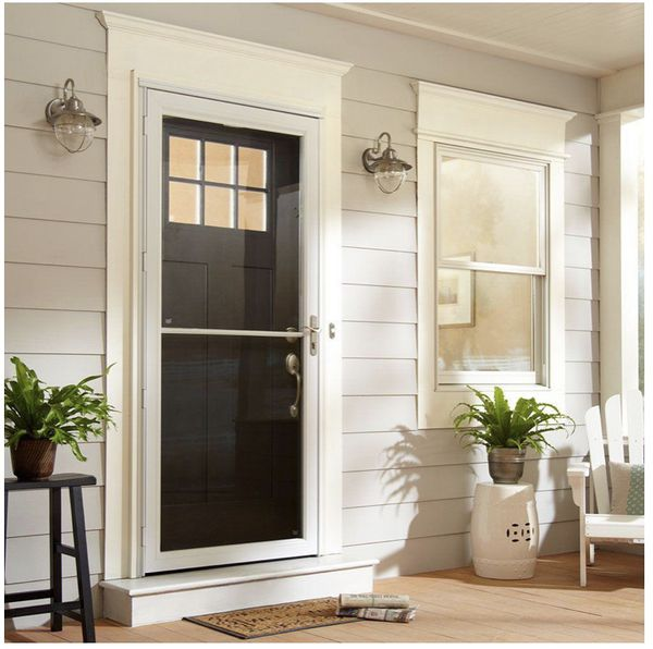 30 in. x 80 in. 2500 Series White Universal Self-Storing Aluminum Storm Door with Nickel Hardware