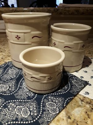Longaberger Traditional Red 3 piece crock set for Sale in Bothell, WA
