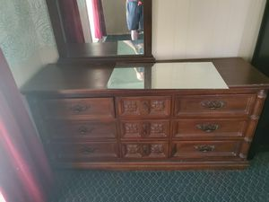 Full bed matress and box sping 2 end tables dresser and mirror for Sale in Lakeland, FL
