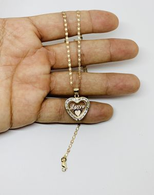 10k Solid Gold Dainty Women's Necklace & Feminine Love Heart charm ❤️ Cadena y dije de Oro para mujer for Sale in Houston, TX