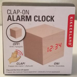 Kikkerland Clap-on Cube Alarm Clock, light wood for Sale in Huntington Beach, CA