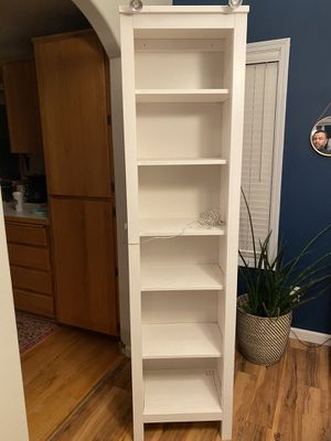 White 6 shelve upright case. Excellent condition light wear if any. Regularly $150 selling it for $75 for Sale in Sherwood, OR