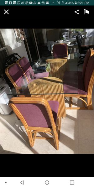 Patio furniture Cuban glass top rattan outdoor dining set with 6 chairs for Sale in Hudson, FL