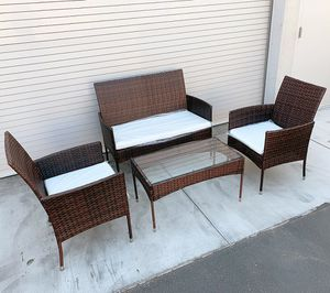 "New $190 Small 4pcs Wicker Ratten Patio Outdoor Furniture Set (Seat 37x19"" and 19x19"") Assembly Required for Sale in Pico Rivera, CA"