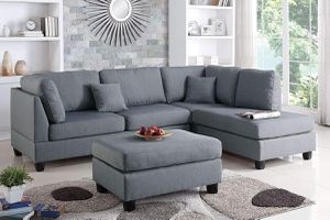 GRAY FABRIC SECTIONAL SOFA REVERSIBLE CHAISE OTTOMAN / SILLON SECCIONAL for Sale in Temecula, CA