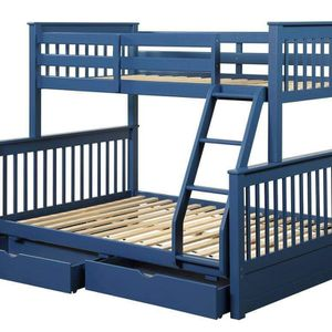 NAVY BLUE FINISH TWIN OVER FULL SIZE BUNK BED DRAWERS - LITERA MATRIMONIAL SENCILLA CAJONES for Sale in Downey, CA