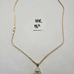 10K Gold Franco Chain and CZ Pendant 18 Inches for Sale in Hialeah, FL
