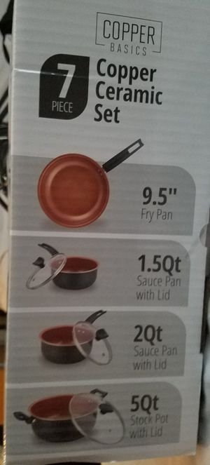 Copper Ceramic Cookware 7-piece Set Aluminum 2-Layer Copper Non-stick NEW! for Sale in Fountain Valley, CA